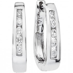14k White Gold Secure Lock Basket Hoops