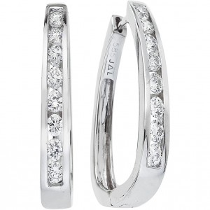 14k White Gold Large Square Secure Lock Hoops