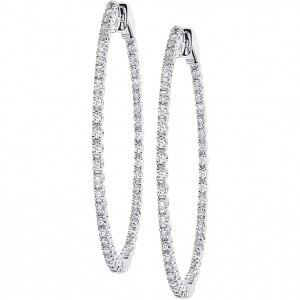14k White Gold 35mm Secure Lock Hoops