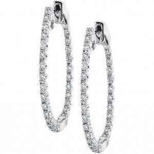 14k White Gold 24mm Hoops Secure Lock
