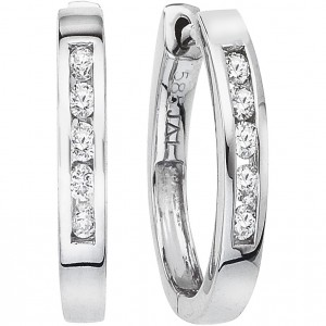 14k White Gold Secure Lock 15mm Hoop Earrings