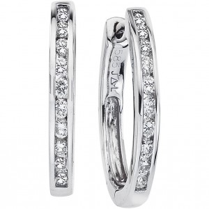 14k White Gold Oval Secure Lock Hoops