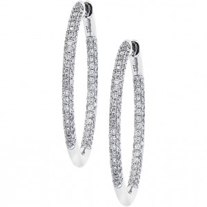 14k White Gold Pave Secure Lock Hoops