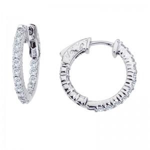 14K White Gold 1 Ct Diamond 20 mm Round Secure Lock Hoop Earrings