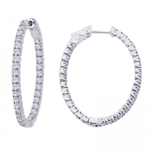14K White Gold 1.98 Ct Diamond Oval Secure Lock Hoop Earrings
