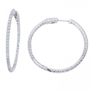 14K White Gold 2 Ct Diamond 35mm Round Secure Lock Hoop Earrings