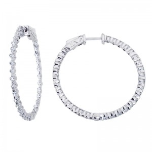 14K White Gold 1.8 Ct Diamond 35mm Round Secure Lock Hoop Earrings
