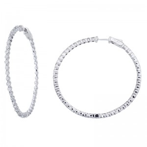 14K White Gold 2.7 Ct Diamond 50mm Round Secure Lock Hoop Earrings