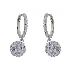 14k White Gold Cluster/Hoop Diamond Earring