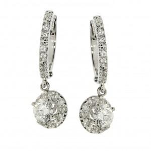 14k White Gold Diamond Halo Leverback Earrings