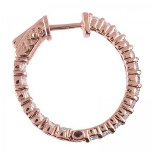 14k Rose Gold Secure Lock In/Out Hoops