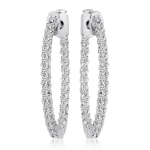 14k White Gold Oval Secure Lock In/Out Earrings