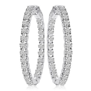 14k White Gold Secure Lock In Out 34 mm Hoops