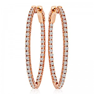 14k Rose Gold 35x28mm Oval Secure Lock In Out Hoops