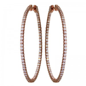 14k Rose Gold Secure Lick 43mm In Out Hoops