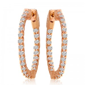 14k Rose Gold Secure Lock In Out 25mm Hoops