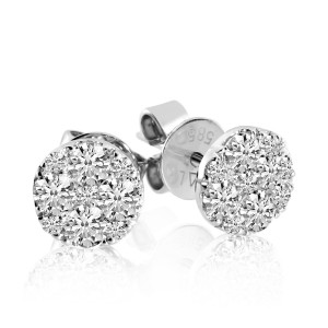 14k White Gold Round .80 Ct Diamond Clustaire Earrings