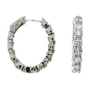 14K White Gold  22 x 20 mm Oval Secure Lock 3 Ct Diamond Hoop Earrings