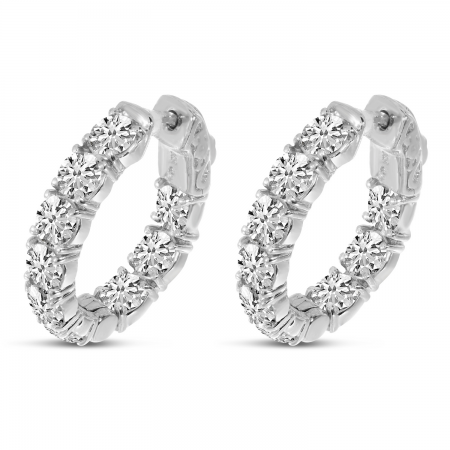 14K White Gold  20 x17 mm Oval Secure Lock 4 Ct Diamond Hoop Earrings