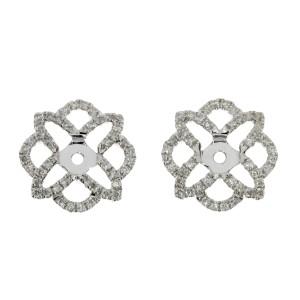 14K White Gold Diamond Flower Earring Jackets