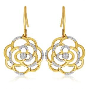 14K Yellow Gold Diamond Flower Swirl Fashion Earrings