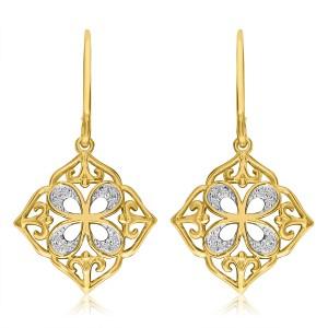 14K Yellow Gold Bowtie Diamond Fashion Earrings