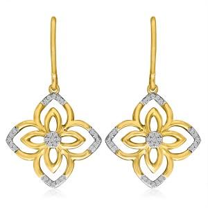 14K Yellow Gold Diamond Flower Fashion Earrings