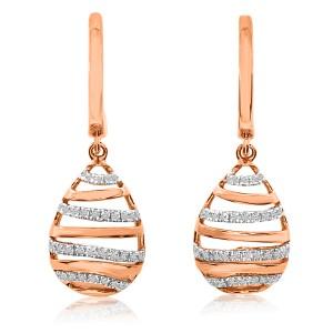 14K Rose Gold Single Cut Diamond Beehive Fashion Earrings
