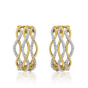 14K Yellow Gold .25 Ct Single Cut Diamonds Wave Euro Back Fashion Earrings