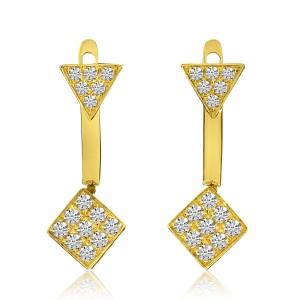 14K Yellow Gold Diamond Moveable Geometric Fashion Earrings