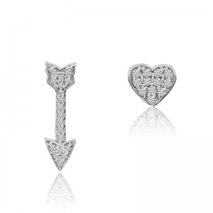 14K White Gold Heart and Arrow Diamond Mismatched Fashion Earring