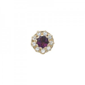 14 Karat Gold Slide with Amethyst center and Diamond accents