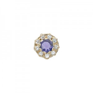 14 Karat Gold Slide with Iolite center and Diamond accents