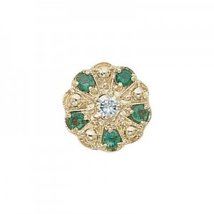 14 Karat Gold Slide with Diamond center and Emerald accents