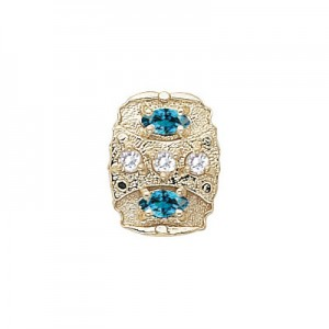 14 Karat Gold Slide with Diamond center and Blue Zircon accents