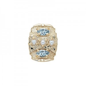 14 Karat Gold Slide with Pearl center and Aquamarine accents