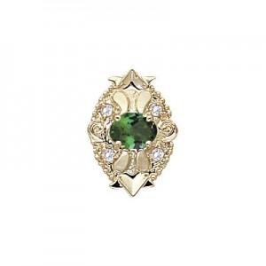 14 Karat Gold Slide with Green Tourmaline center and Diamond accents