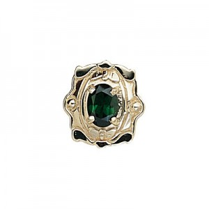 14 Karat Gold Green Tourmaline Slide