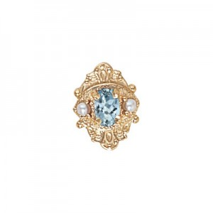 14 Karat Gold Slide with Aquamarine center and Pearl accents