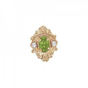 14 Karat Gold Slide with Peridot center and Pearl accents