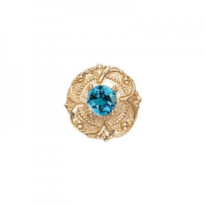14 Karat Gold Blue Zircon Slide