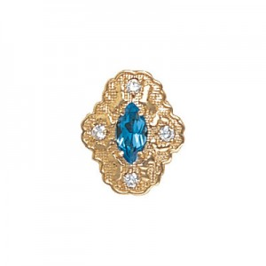 14 Karat Gold Slide with Blue Topaz center and Diamond accents
