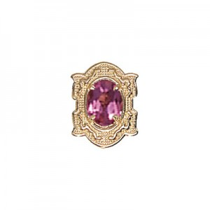 14 Karat Gold Pink Tourmaline Slide