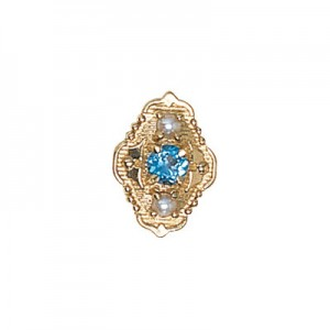 14 Karat Gold Slide with Blue Topaz center and Pearl accents