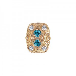 14 Karat Gold Slide with Blue Zircon center and Diamond accents