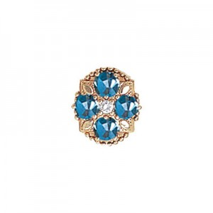 14 Karat Gold Slide with Diamond center and Blue Topaz accents
