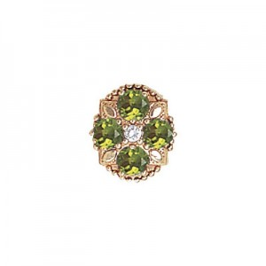 14 Karat Gold Slide with Diamond center and Peridot accents