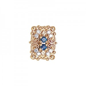 14 Karat Gold Slide with Sapphire center and Diamond accents