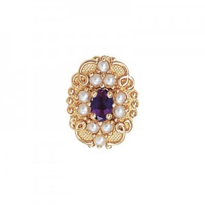 14 Karat Gold Slide with Amethyst center and Pearl and Pearl accents