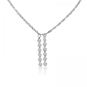 14K White Gold Double Pierced Dangling Dashing Diamonds 18 inch Necklace